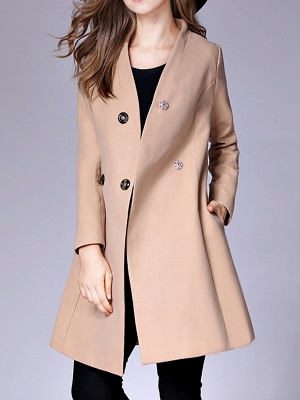 Casual Buttoned Solid Long Sleeve Coat_6