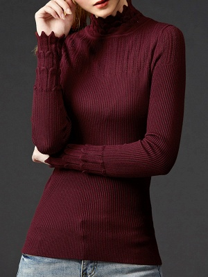 Stand Collar Casual Shift Solid Long Sleeve Sweater_7