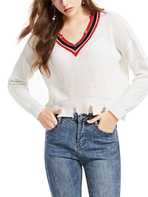 White Long Sleeve Solid Casual Sweater_3