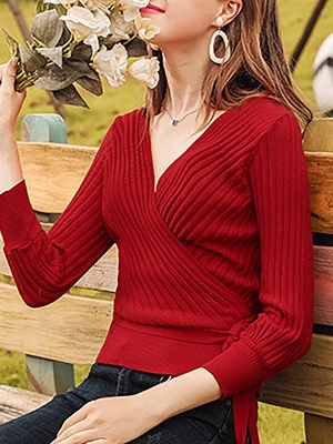Casual Long Sleeve Shift V neck Sweater_12