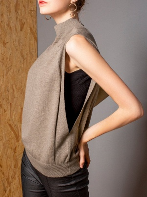 Khaki Solid Turtleneck Casual Sleeveless Shift Sweater_6