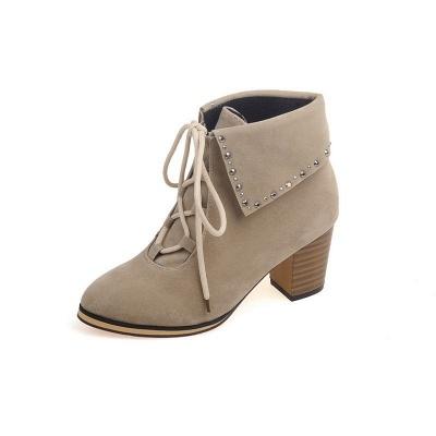 Chunky Heel Daily Rhinestone Pointed Toe Boots_12