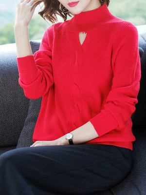 Solid Casual Long Sleeve Cutout Turtleneck Sweater_1
