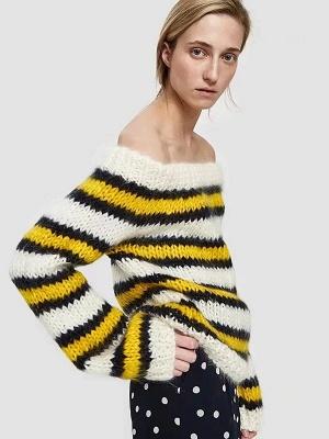 Striped Printed Bateau/boat neck Casual Sweater_7