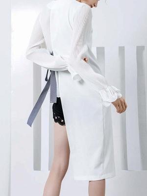 Frill Sleeve Casual Asymmetrical V neck Ruffled Folds Coats_4
