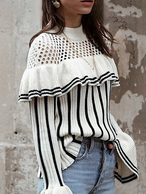 White Casual Printed Sweater_3