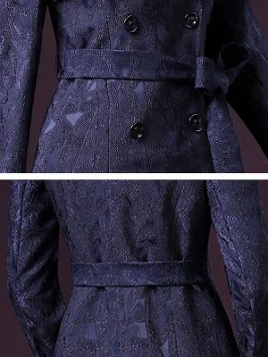 Blue Long Sleeve Blouson Buttoned Work Coat_6