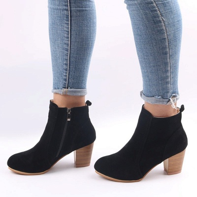 Suede Chunky Heel Zipper Daily Round Toe Boot_5