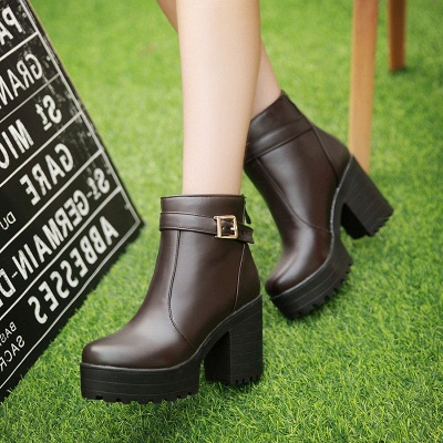 Daily PU Chunky Heel Round Toe Elegant Boots_1