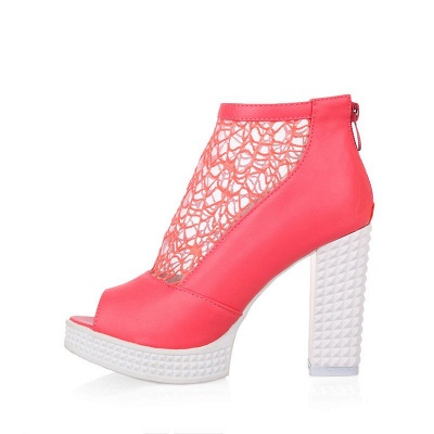 Hollow-out Daily Elegant Peep Toe Chunky Heel Boots_1