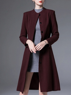 Buttoned Work Shift Solid Long Sleeve Pockets Crew Neck Coat_2