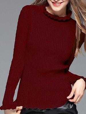 Crew Neck Long Sleeve Shift Casual Ruffled Sweater_9