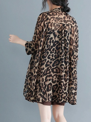 As Picture Casual Shift Printed Half Sleeve Coat_3
