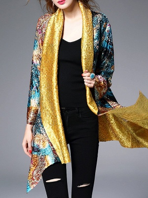 Green Casual Shawl Collar Asymmetrical Abstract Crinkled Coat_7