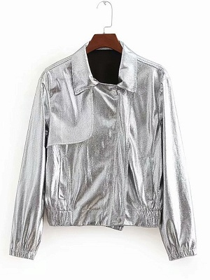 Silver Gathered Paneled Shirt Collar Zipper Pockets Coat_7