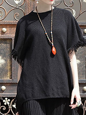 Fringed Solid Casual Short Sleeve Shift Sweater_1