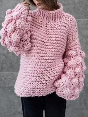 Cotton Casual Balloon Sleeve Sweater_1