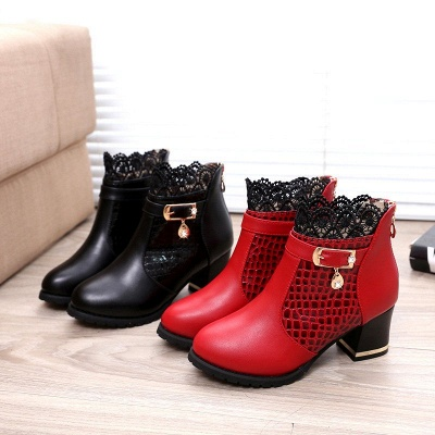 Chunky Heel Zipper Pointed Toe Buckle Boots_5