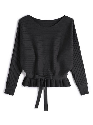 Solid Ribbed Casual Long Sleeve Sweater_4