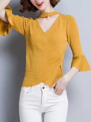 Shift Casual Solid Frill Sleeve Knitted Sweater_2