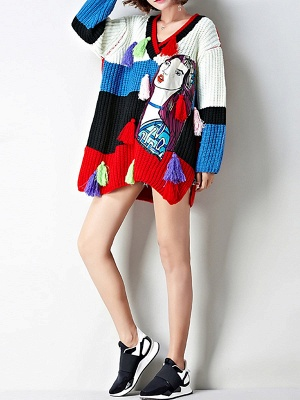 Multicolor Graphic V neck Knitted Statement Batwing Sweater_7