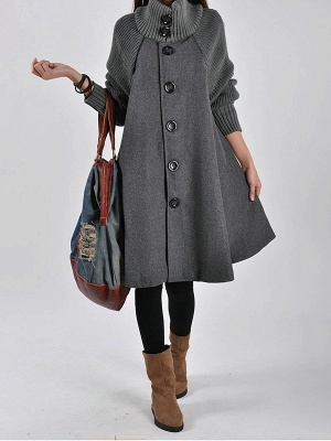 Casual Long Sleeve Turtle Neck A-line Solid Buttoned Paneled Coat_3