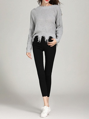 Shift Long Sleeve Bateau/boat neck Casual Fringed Sweater_6