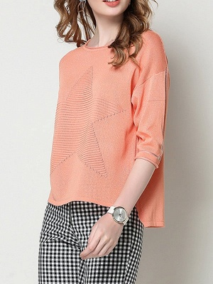 Ice Yarn Coral Solid Casual Shift Knitted Asymmetric Sweater_6