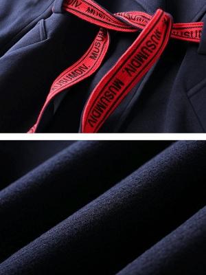 Dark blue Shift Long Sleeve Casual Pockets Paneled Coat_7