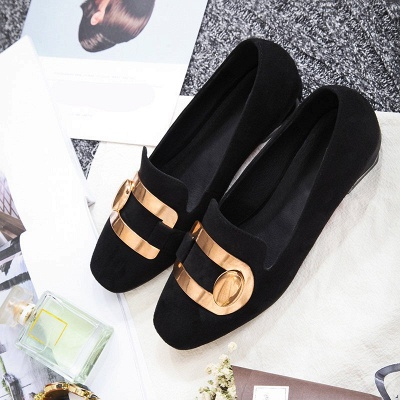 Daily Chunky Heel Suede Square Toe Loafers_10