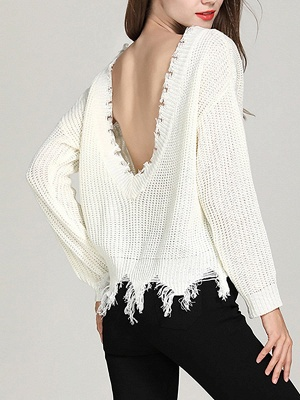 Shift Long Sleeve Bateau/boat neck Casual Fringed Sweater_4