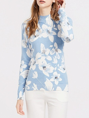 Blue Floral Casual Long Sleeve Stand Collar Sweater_6