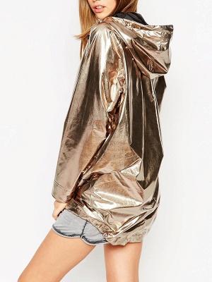 Gold Solid Hoodie Long Sleeve Casual Coat_3