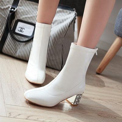 Chunky Heel Zipper Elegant Square Toe Boots_4