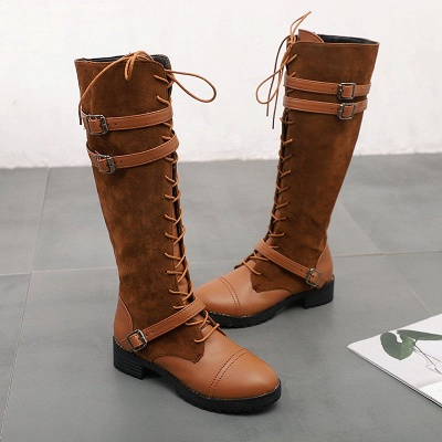 Daily Buckle Chunky Heel Suede Round Toe Lace-up Boot_10