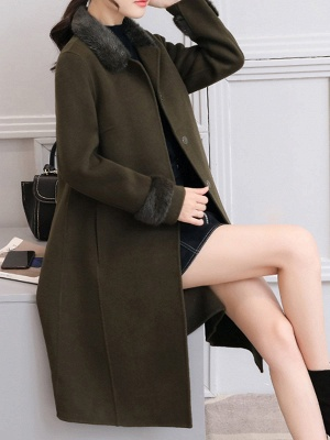 Casual Buttoned Long Sleeve Shirt Collar A-line Pockets Fluffy  Coat_12