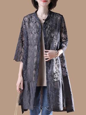 Gray Crew Neck Half Sleeve Guipure lace Paneled Coat_1