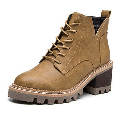 Daily Lace-up Chunky Heel Round Toe Boots_7