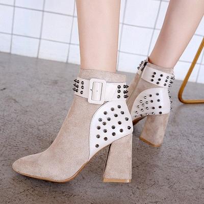 Chunky Heel Daily Rivet Pointed Toe Zipper Elegant Boots_9
