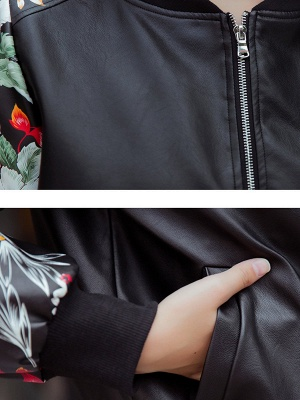 Black Crew Neck Long Sleeve Casual Coat_6