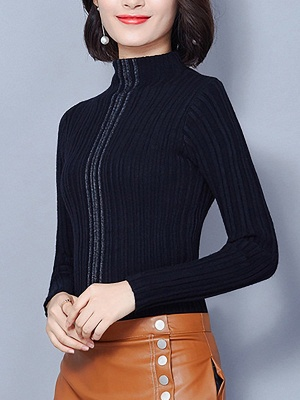 Ribbed Long Sleeve Solid Casual Sheath Sweater_4