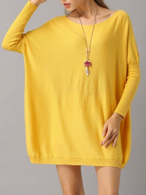 Shift Paneled Solid Casual Long Sleeve Sweater_3