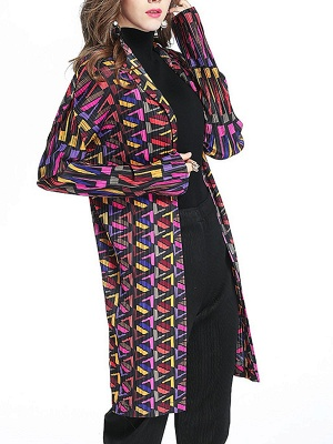 Multicolor Abstract Long Sleeve Shift Crinkled Coat_6