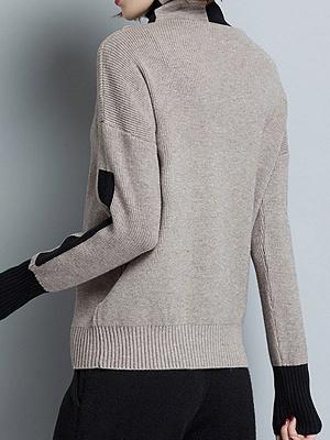 Plain Casual Turtleneck Long Sleeve Shift Sweater_7