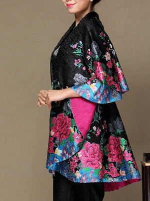 Black Long Sleeve Floral Casual Floral-print Crinkled Coat_5