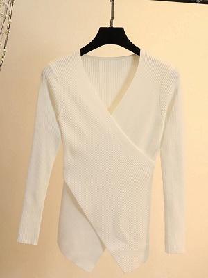 Cotton Sheath Casual Long Sleeve Sweater_1