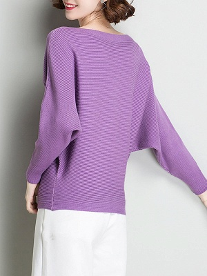 Shift Solid Batwing Bateau/boat neck Casual Sweater_10