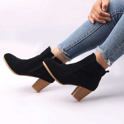 Suede Chunky Heel Zipper Daily Round Toe Boot_6