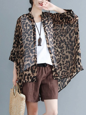 As Picture Casual Shift Printed Half Sleeve Coat_1