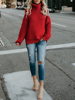 Knitted Casual Shift Long Sleeve Sweater_14